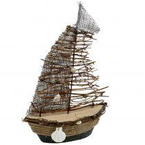 Dekorativ båt med grenar och skal 38 cm