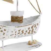Dekorativ båt stående vit H22cm