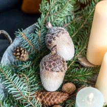 Dekorativa ekollon täckta med snö, keramiska dekorationer, advent, vinterhöstdekorationer L9,5 4st