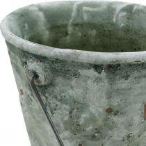 Dekorativ hink, keramik för plantering, trädgårdsdekoration, växtskopa antik optik Ø13,5cm H12cm 2st