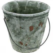 Dekorativ hink, blomkar, keramisk hink, antikt utseende, Ø19,5cm H19cm