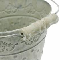 Dekorativ hink, tvättad vit med handtag Ø20,5 cm, planter, metall dekoration