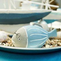 Dekorativ fisk med glasögon blåvit 15,5 / 14,5cm 2st