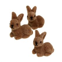 Dekorativa kaniner 5cm flockade bruna 16st.