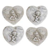 Mini dekorativa hjärtan med änglar 4 cm grå 8st