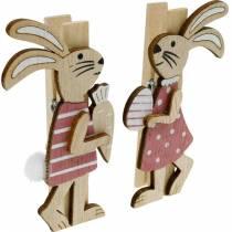 Dekorativa klipp kaniner Påskkaniner rosa, vitt trä påskdekoration 4st
