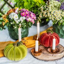Dekorativ pumpa flockade mix orange, grön, röd höstdekoration 16cm 3st