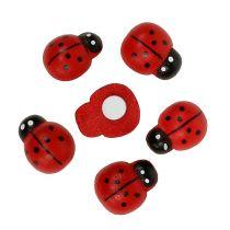 Dekorativ nyckelpiga som sticker 1,5 cm röd 360p