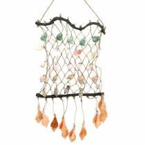 Dekorativt nät för att hänga med naturliga skal 25 × 45 cm