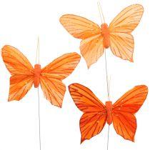 Dekorativ fjäril orange 12st