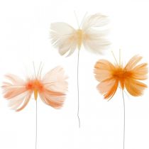 Fjärilar i orange toner, vårdekoration vårfjärilar på tråd 6st