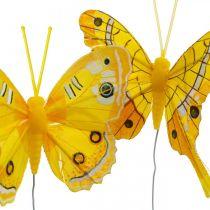 Dekorativa fjärilar gul fjäderfjäril på tråd 7,5 cm 6st