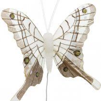 Dekorativa fjärilar vit, brun fjäderfjäril på tråd 7,5 cm 6st