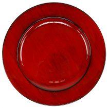 Dekorativ plåt Ø28cm röd-svart