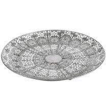 Dekorativ platta silver med motiv Ø35cm