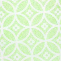 Dekorativt bordband med blommor ljusgrön 30 cm x 300 cm
