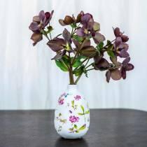 Dekorativ vas vit blommig Ø11cm H17.5cm