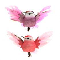 Dekorativa fåglar på klippet rosa / lila 9 cm 8st