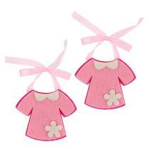 Födelse dekoration filt klänning rosa 7 cm 20 st