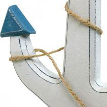 Dekorativt ankarträ vit, blå Träankare för hängning 23cm