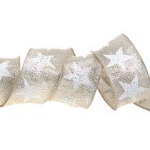 Julband med stjärnmönster natur, silver 40mm 15m