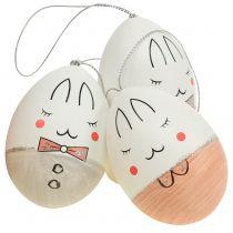 Dekorativa ägg med ansiktsvit, rosa, grå 7 cm 6st