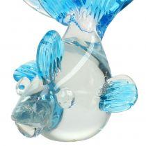 Dekorativa fiskar gjorda av klart glas, blå 15cm