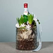Dekorativt glas, lykta med diamantmönster, glaskärl Ø15cm H15cm
