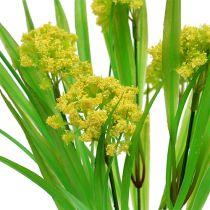 Dekorativt gräs med blommor gul, grön L30cm