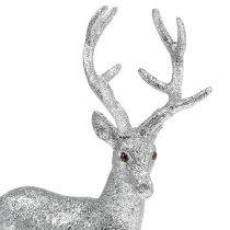 Dekorativt rådjur silver, glimmer H32cm W25cm