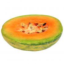 Dekorativ honungsmelon halverad orange, grön 13cm