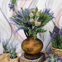 Dekokanna antik look vas vintage metall trädgårdsdekoration H26cm