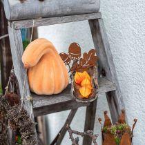 Dekorativ pumpa böjd apelsin flockade Konstgjord dekorativ pumpa 18cm