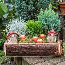 Deco elf keramisk svamphatt bordsdekoration röd, vit H10.5cm 3st