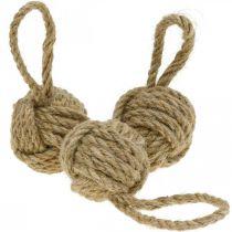 Dekoration för att hänga Tauball jute natur Ø5,5cm 3st