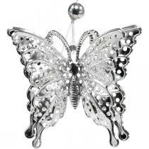 Dekorativ hängfjäril, bröllopsdekoration, metallfjäril, fjäder 6st
