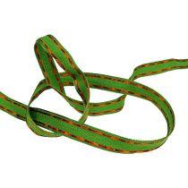 Dekorativt bandgrönt med trådkant 15mm 15m