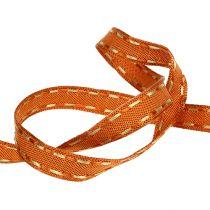 Dekorativ tejp orange med trådkant 15mm 15m