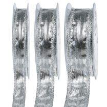 Dekorativt band silver med trådkant 25m