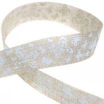Dekorband med fjärilar brunt 25mm tygband presentband 20m