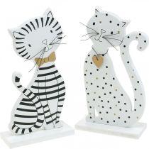Dekorativ figur katt, butiksdekoration, kattfigurer, trädekoration 2st