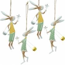 Dekorativa figurer par kaniner, metalldekoration, påskkaniner att hänga på, vårdekoration 4st
