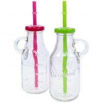 Dekorativa flaskor med lock och halm H14,5cm