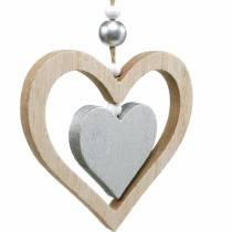 Dekorationshängare hjärta blomma fjäril natur, silverved dekoration 6st