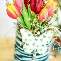 Hängande dekoration hjärta blomma fjäril vit, grön trä vårdekoration 6st