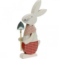 Dekorativ kanin med spade, kaninpojke, påskdekoration, träkanin, påskkanin