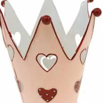 Dekorativ krona, metalllykta, planter för Alla hjärtans dag, metalldekoration med hjärta