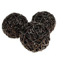 Dekorativ boll Ø12cm mörkbrun 6st