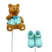 Dekorativ pluggbjörn, skoblå 1,5-4 cm 16st