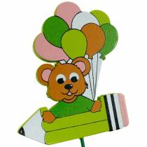 Dekorativ pluggpenna med nallebjörn och ballonger blomplugg sommardekoration barn 16st